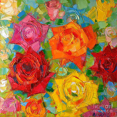 Abstract Rose Painting - Mon Amour La Rose by Mona Edulesco