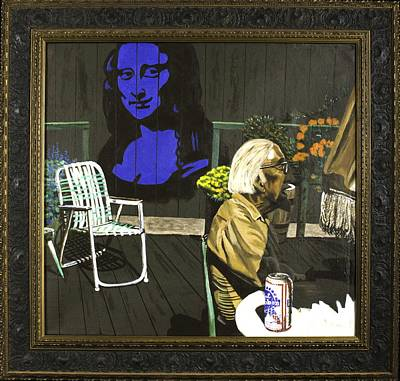 Art Print featuring the painting Mona Lisa On The Patio by Herb Van de Eau