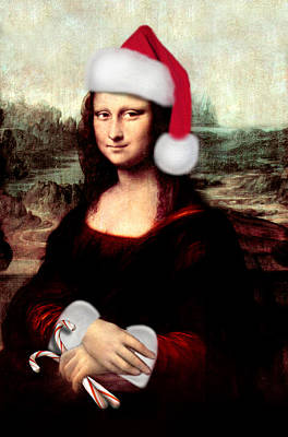 Mona Digital Art - Mona Lisa With Santa Hat by Gravityx9  Designs