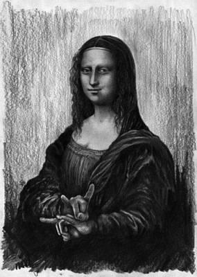 Digital Art - Mona Lisa With Sign Of The Horns by Jakub DK