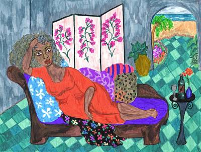 African American. Folk Art Painting - Mona by Stacey Torres