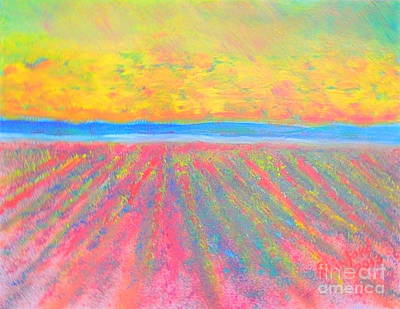 Painting - Mona Utah Lavender Fields 1 by Richard W Linford