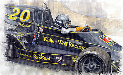 Art Car Painting - Monaco 1976 Wolf Wiliams Fw05 Jacki Ickx by Yuriy Shevchuk