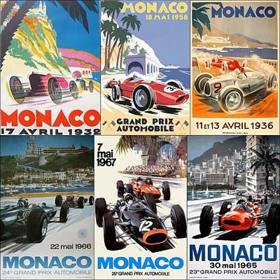 Monaco Photograph - Monaco F1 Grand Prix Vintage Poster Collage by Georgia Fowler