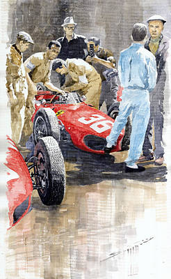 Vintage Sports Painting - Monaco Gp 1961 Ferrari 156 Sharknose Richie Ginther by Yuriy Shevchuk