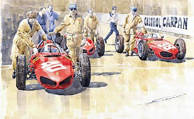 Hills Painting - Monaco Gp 1961 Ferrari 156 Sharknose  by Yuriy  Shevchuk