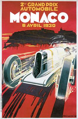 Formula One Drawing - Monaco Grand Prix Vintage Poster by World Art Prints And Designs