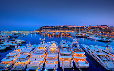 Yacht Photograph - Monaco Lights At Night by Gianfranco Weiss