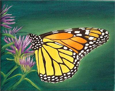 Art Print featuring the painting Monarch And Liatris by Fran Brooks