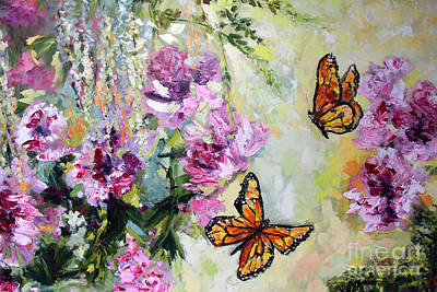 Painting - Monarch Butterflies And Peonies by Ginette Callaway