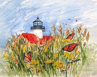 Monarch Butterflies At East Point Light Art Print