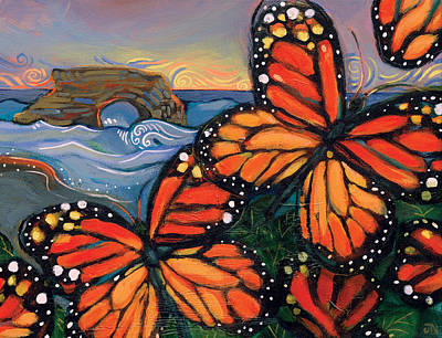 Monarch Painting - Monarch Butterflies At Natural Bridges by Jen Norton
