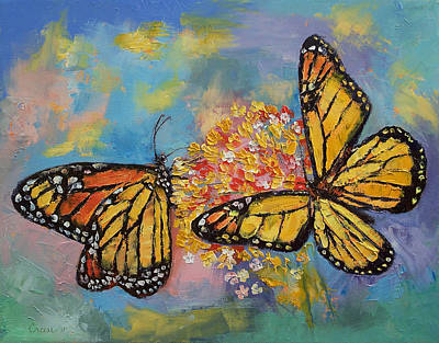 Monarch Butterfly Painting - Monarch Butterflies by Michael Creese
