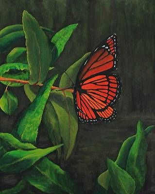 Painting - Viceroy Butterfly Oil Painting by Michael Saunders