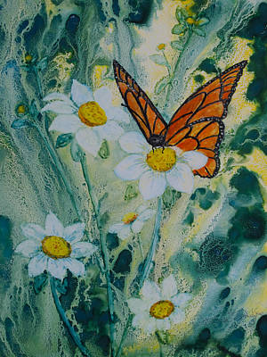 Painting - Monarch On Daisies by Patricia Beebe