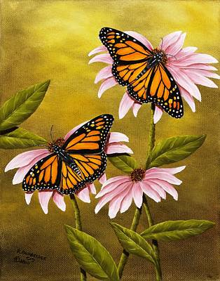 Coneflower Painting - Monarchs And Coneflower by Rick Bainbridge