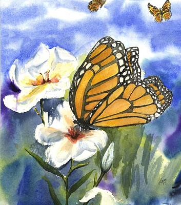 Watercolor. Butterfly Painting - Monarchs In The Gardens by Maria Hunt