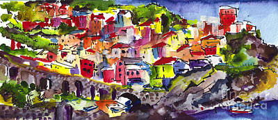 Manarola Italy Watercolor Art Print
