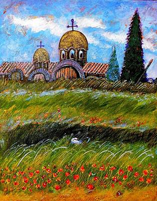 Peisaj Painting - Monastery In Greece by Ion vincent DAnu