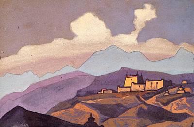 Monastery In Tsang Province - Tibet Art Print by Nicholas Roerich