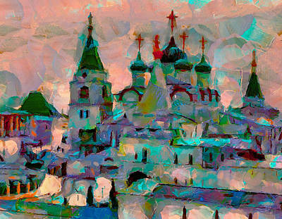 Digital Art - Monastery Winter Sunset by Yury Malkov
