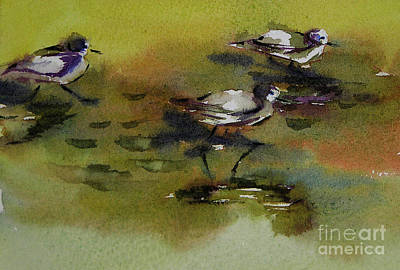 Sandpiper Drawing - Monday Evening Sandpipers  by Julianne Felton