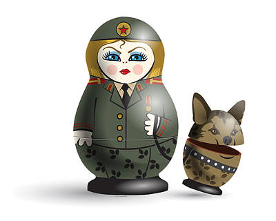 Matryoshka Digital Art - Monday Guard by Vanessa Bates