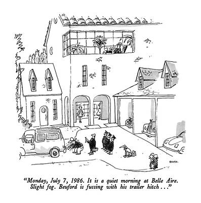 Monday Drawing - Monday, July 7, 1986. It Is A Quiet Morning by George Booth