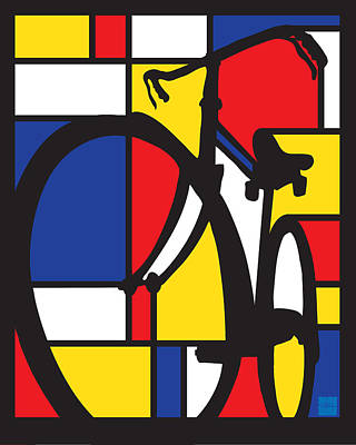Painting - Mondrian Bike by Sassan Filsoof
