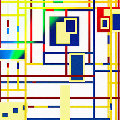 Mondrian Color Teraphy Art Print by Celestial Images
