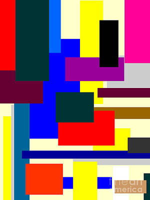 Grid Mixed Media - Mondrian Composition by Celestial Images