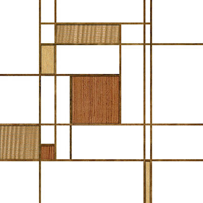 Mondrian In Wood Art Print