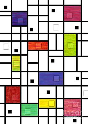 Colored Pencil Abstract Digital Art - Mondrian-like Variation by David K Small