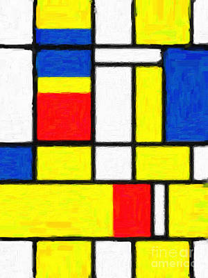 Composition Digital Art - Mondrian Rectangles  by Celestial Images