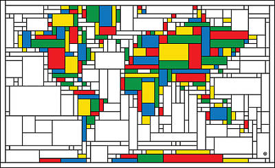 Painting - Mondrian World Map by Gary Grayson