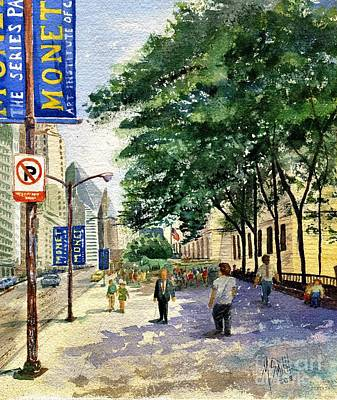 Stone Buildings Painting - Monet In Chicago by Marilyn Smith