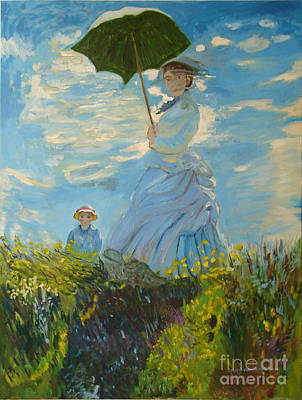Monet-lady With A Parasol-joseph Hawkins Art Print