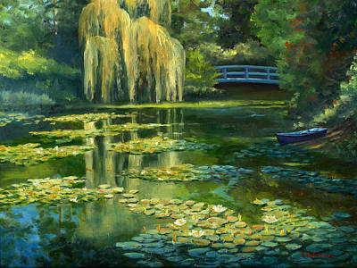 Monet Water Lily Garden IIi, Giverny, France Original by Elaine Farmer
