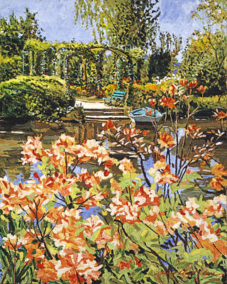 Painting - Monets Boat With Rhododendrons by David Lloyd Glover