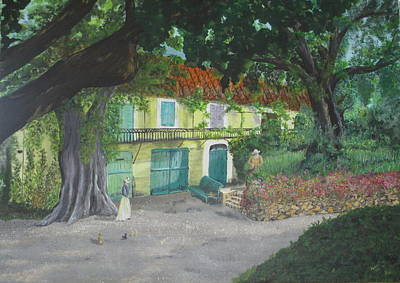 Art Print featuring the painting Monet's Home by Hilda and Jose Garrancho