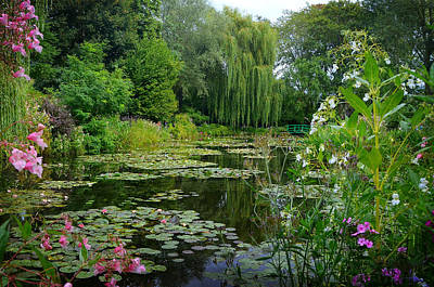 Aqua Photograph - Monet's Pond With Waterlilies And Bridge by Carla Parris