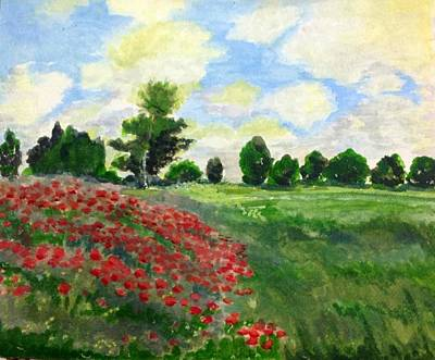 Painting - Monet's Poppy Field by Aditi Bhatt
