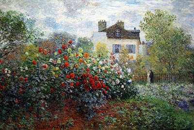 Art Print featuring the photograph Monet's The Artist's Garden In Argenteuil  -- A Corner Of The Garden With Dahlias by Cora Wandel