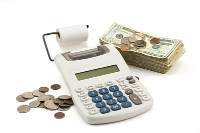 Photograph - Money And Calculator On White Background by Keith Webber Jr