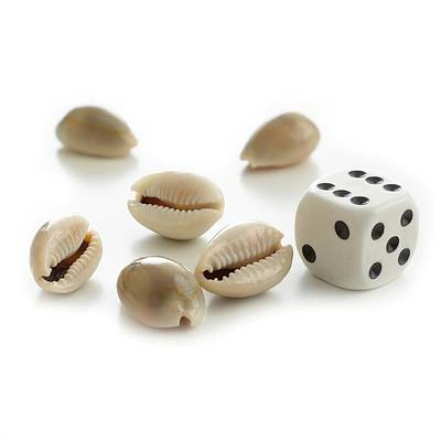 Money Cowry Sea Shells And Dice Art Print by Science Photo Library