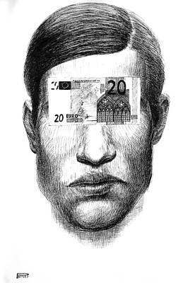 Betlej Drawing - Money Glasses by Piotr Betlej