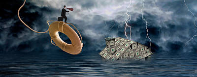 Adversity Photograph - Money House Under Water by Panoramic Images