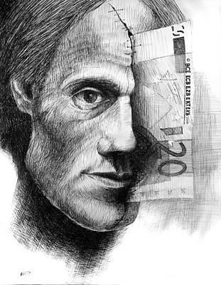Betlej Drawing - Money In My Head by Piotr Betlej