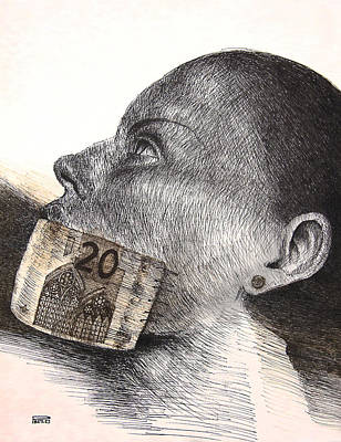 Mietko Drawing - Money Kiss by Piotr Betlej