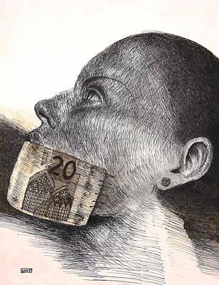 Betlej Drawing - Money Kiss by Piotr Betlej
